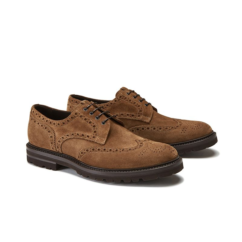 Wingtip tobacco suede Derby shoes, men's model by Fragiacomo, side view