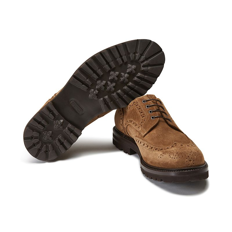 Wingtip tobacco suede Derby shoes, men's model by Fragiacomo, bottom view