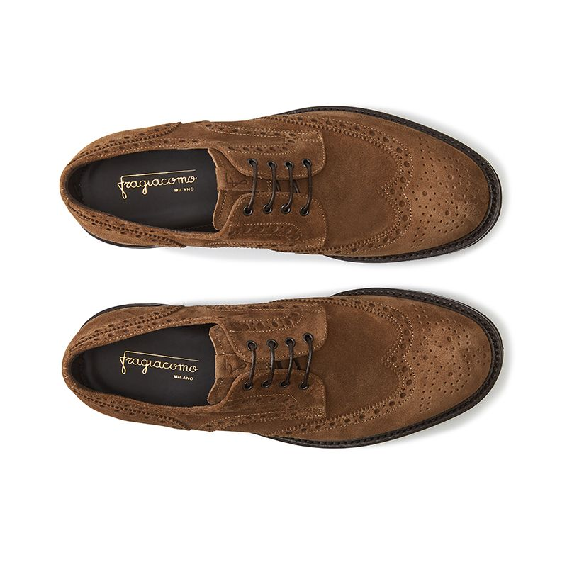 Wingtip tobacco suede Derby shoes, men's model by Fragiacomo, over view