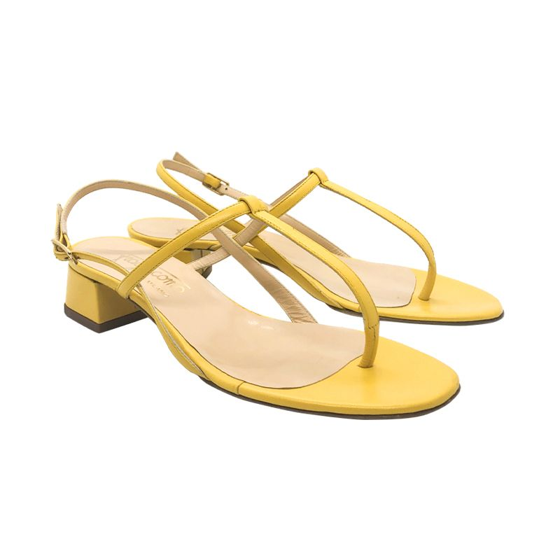 Yellow leather low heel sandals hand made in Italy, women's model by Fragiacomo