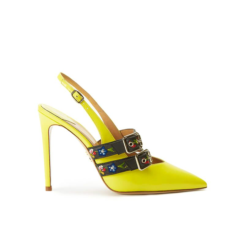 Yellow patent leather slingbacks with embroidered straps and 100mm heel, SS19 collection by Fragiacomo