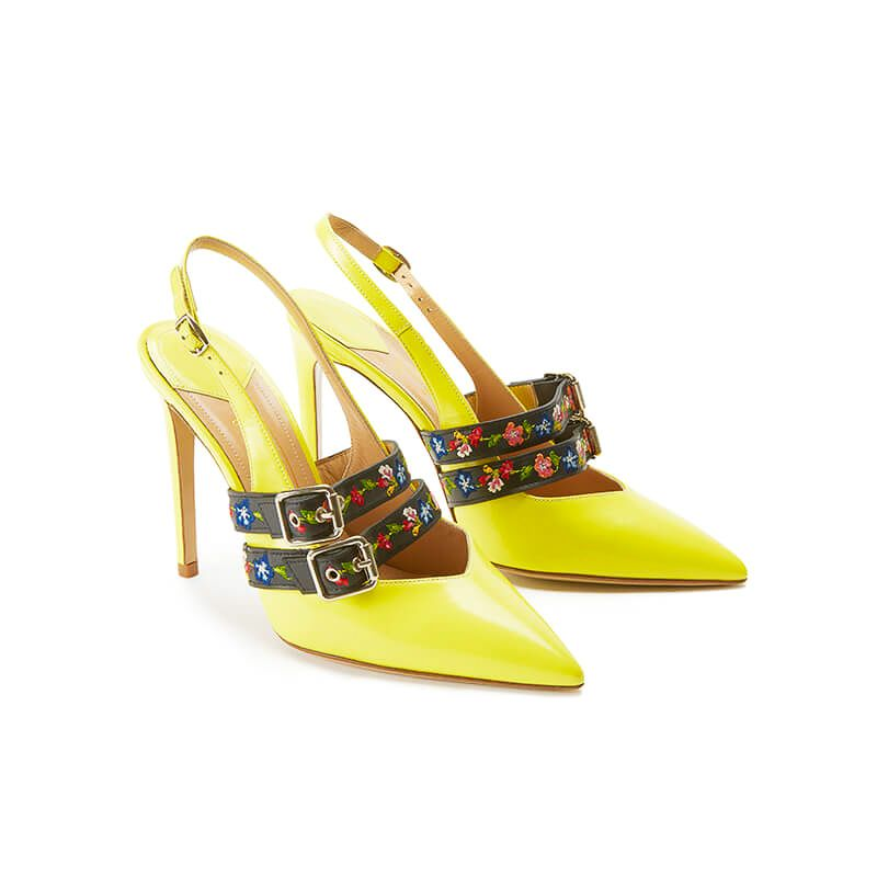 Yellow patent leather slingbacks with embroidered straps and 100mm heel, SS19 collection by Fragiacomo, side view