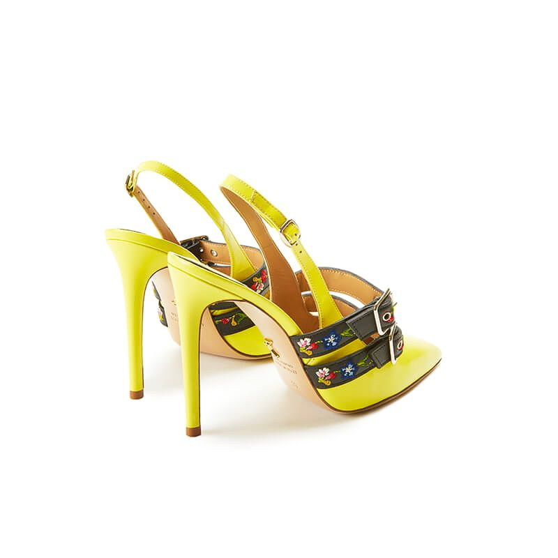 Yellow patent leather slingbacks with embroidered straps and 100mm heel, SS19 collection by Fragiacomo, back view