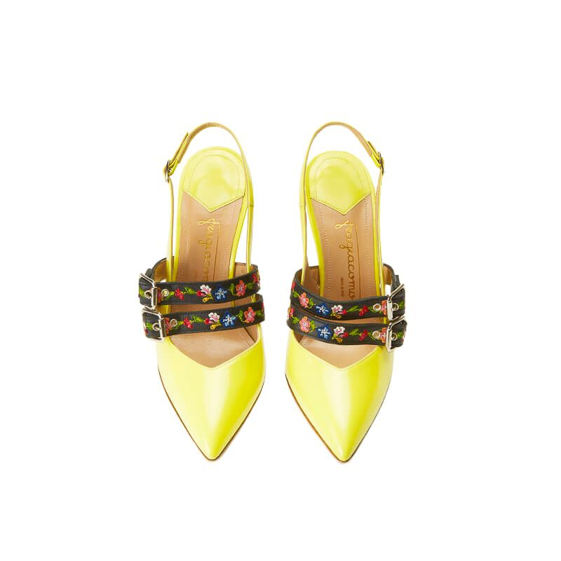Yellow patent leather slingbacks with embroidered straps and 100mm heel, SS19 collection by Fragiacomo, over view