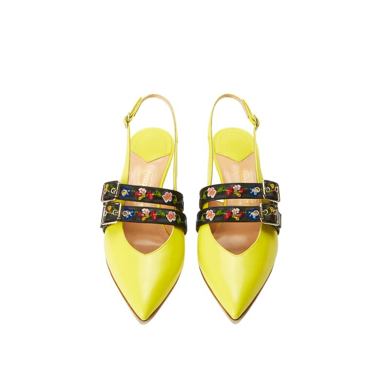 Yellow patent leather slingbacks with embroidered straps and kitten heel, SS19 collection by Fragiacomo, over view