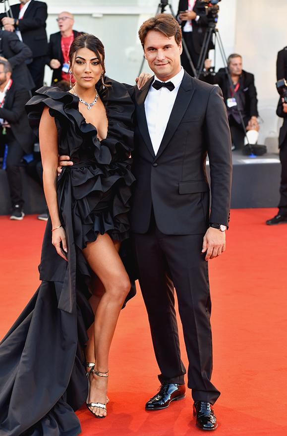 Federico Pozzi Chiesa, CEO Fragiacomo, and showgirl Giulia Salemi at Venice Film Festival 2019