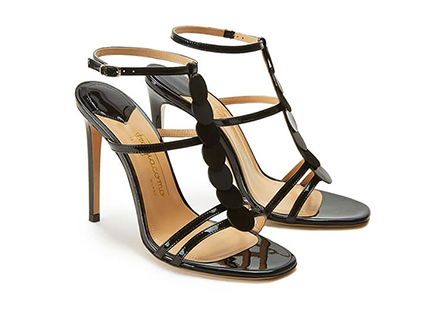 Black patent leather sandals with discs high heel by Fragiacomo