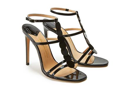 Sandali neri in vernice con cinturino, dischi in pelle e tacco alto 100mm, by Fragiacomo