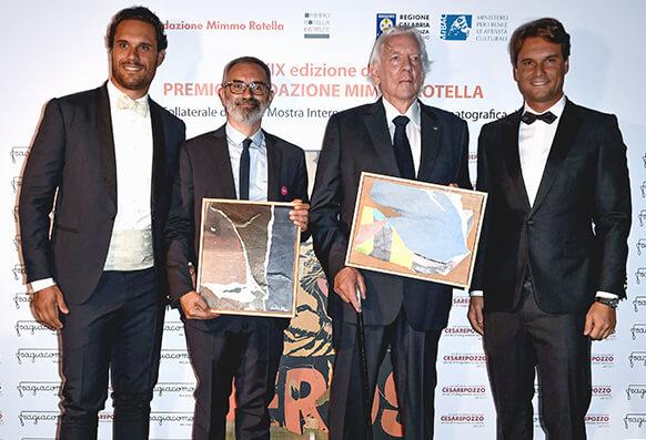 Federico Pozzi Chiesa, Massimo Pozzi Chiesa, Giuseppe Capotondi and Donald Sutherland at Venice Film Festival in occasion of Mimmo Rotella Award