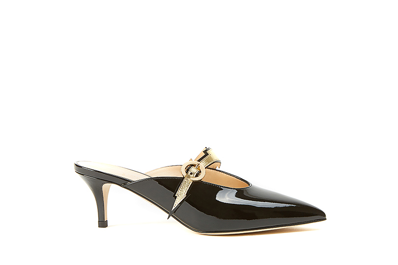 Black patent leather Flash mules