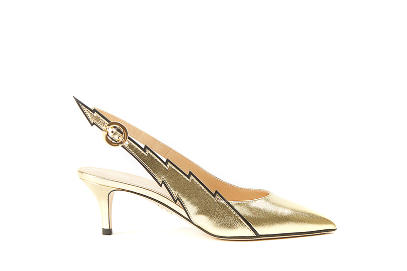 Gold nappa leather Flash slingback pumps