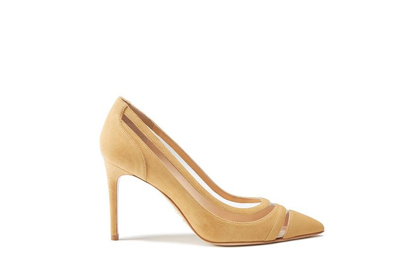 Beige suede pumps with pvc inserts