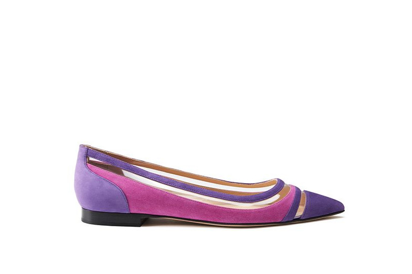 Violet and fuchsia suede ballerinas with pvc inserts