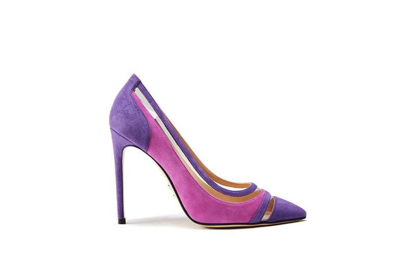 Violet and fuchsia suede pumps with pvc inserts
