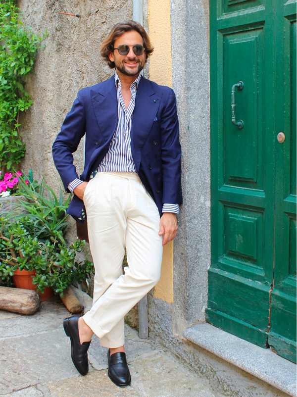 Influencer Danilo Carnevale wearing black calfskin loafers hand made in Italy, elegant men's by Fragiacomo