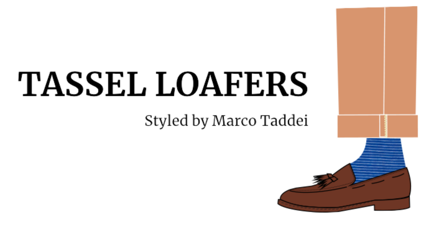 Illustration of a man's foot wearing light brown tassel loafer by Fragiacomo