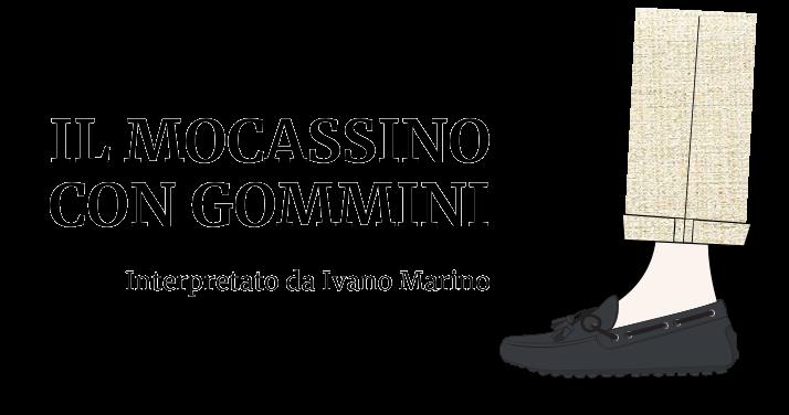 Illustrazione di una gamba da uomo che indossa un mocassino con gommini by Fragiacomo
