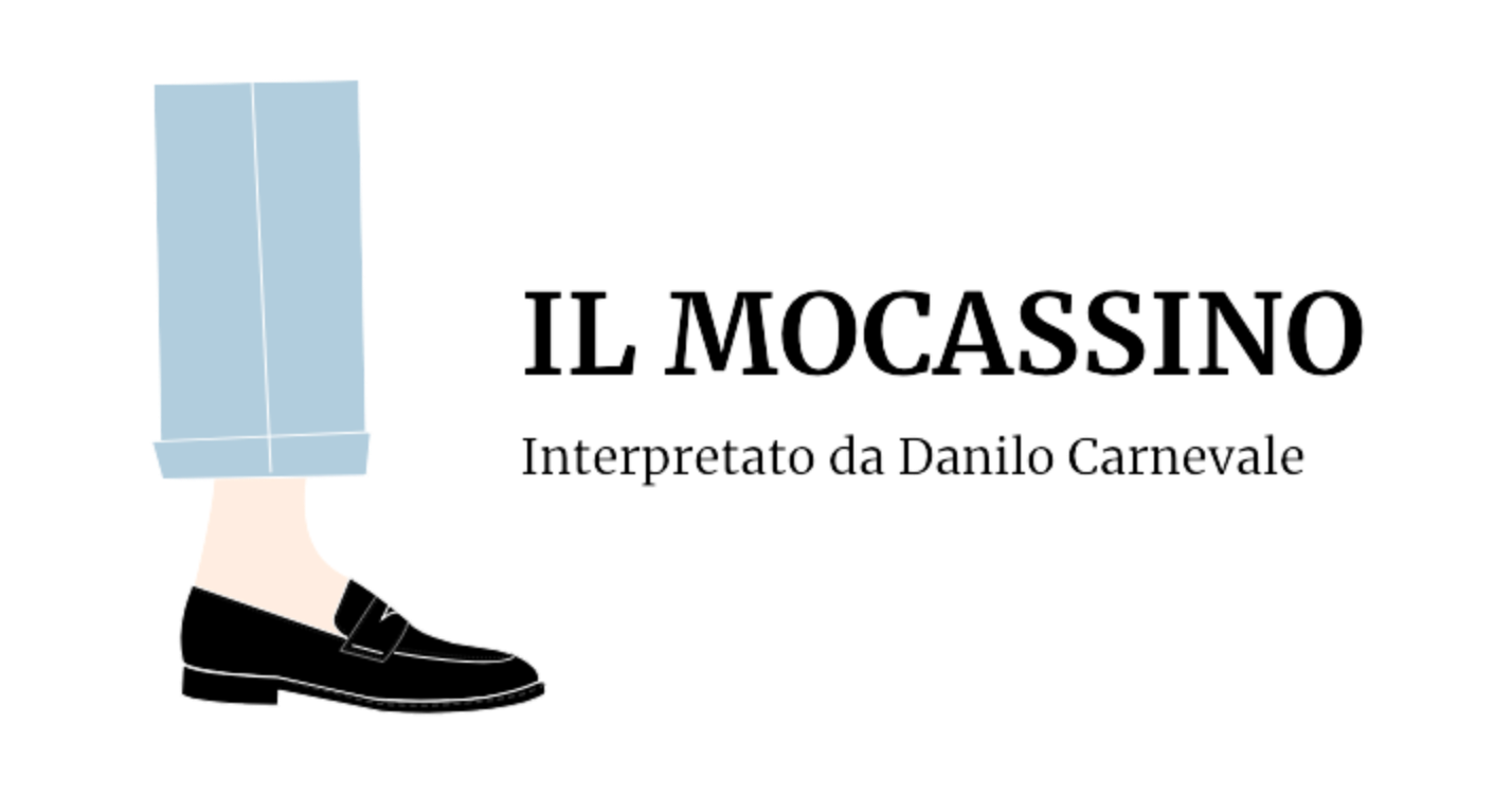 Illustrazione di una gamba da uomo che indossa un mocassino nero by Fragiacomo